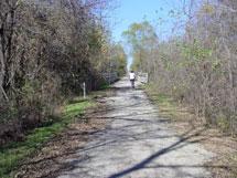 Biker on paved path.