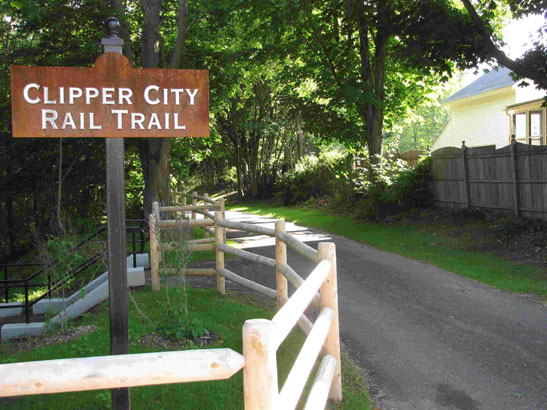 Clipper City Rail Trail signage.