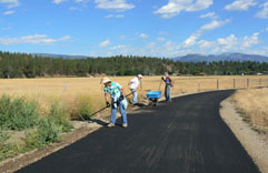 Montana crew paving trail.
