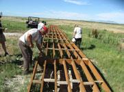 Volunteers constructing boardwalk.