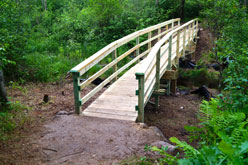 Newly constructed wooden bridge.